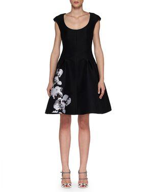 Fendi Cap-Sleeve Dress with Orchid Jacquard