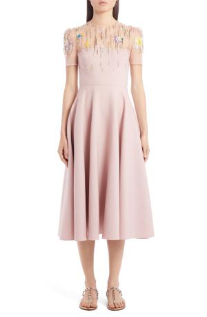 Vaelntinowol and silk midi dress